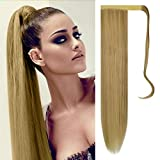 FESHFEN 24' Long Straight Wrap around Ponytail Extensions Synthetic Clip in Ponytail Hair Extensions Hairpiece for Women 130g, Medium Blonde & Bleach Blonde