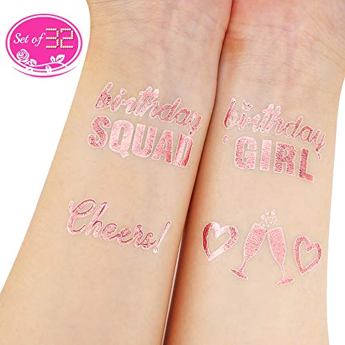 Konsait oro rosa cumpleaños Tatuajes temporales para niños mujer 16 21 30 40 50 60 18 Años cumpleaños Fiesta de Decoración Accesorios Regalo, 2 hojas
