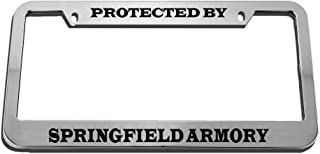 Speedy Pros Protected by Springfield Armory Zinc Metal License Plate Frame Car Auto Tag Holder - Chrome 2 Holes
