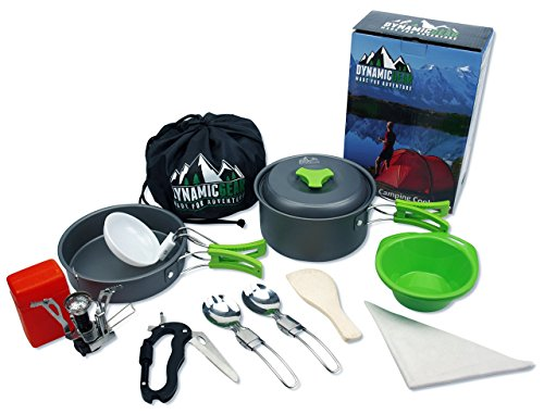 Camping Cookware Mess Kit Portable Lightweight Backpacking Hiking Gear cooking equipment 13 piece cookset. FREE additional Spork, Carabiner & Mini Stove. For Scouts, Hunting, Bug Out Bag and Outdoors.