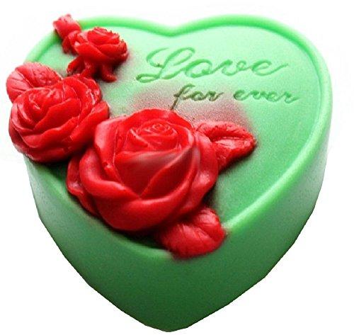 Siliconen mal voor artisanaal gebruik van een hart met roze bloemen en incisiebestendig - altijd lief - ook geschikt voor zeep love forever