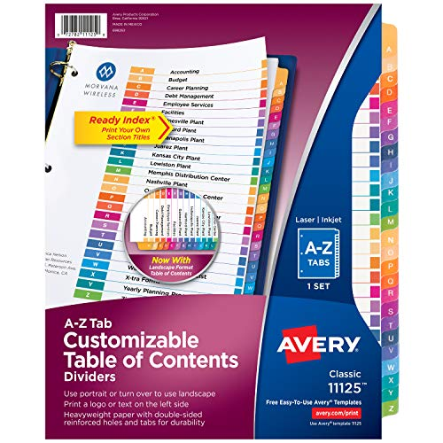 Avery A-Z Tab Dividers for 3 Ring Binders, Customizable Table of Contents, Multicolor Tabs, 1 Set (11125)