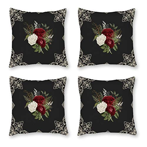 None-brands Pillow Covers Throw Cushion Cover Look Decorative Pillowcases For Sofa 18 X 18 Inch Set Of 4 No Pillow Insert Tropical Tribald Garden Roses Boho Flowers Pattern