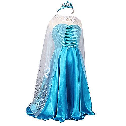 TiaoBug Bébé Fille Déguisement Princesse Carnaval Cosplay Robe Costume Fille Anniversaire Cadeau Robe+Cape+Couronne (6-7 Ans)