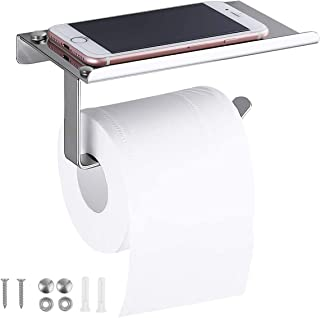 HQdeal Toilet Roll Holder, Stainless Steel Wall Mounted Tissue Storage, Roll Holder with Phone Storage Shelf, SUS 304 Stainless Steel Paper Roll Holder for Kitchen and Bathroom