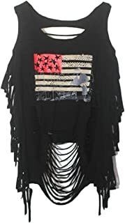 Hokny TD Womens Punk Ripped Backless Fashion Loose Print Vest Tank Tops