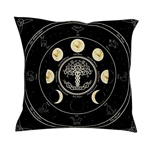 CCMugshop Fantasie Maanfase, Keltische boom van het leven dier sterrenbeeld Astrologie kunstwerk print katoen linnen decoratief werp kussenslopen mooie rits kussensloop voor woonkamer geschenken