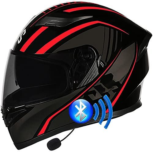Casco De Motocicleta Modular Con Bluetooth, Abatible Hacia Arriba, Locomotora Antiniebla Doble Visera Casco Aprobado ECE Altavoz Incorporado Auriculares Micrófono 4,XXXL=64-65CM