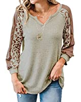 METINI Womens Waffle Weave Henley Shirts V Neck Long Sleeve Warm Thermal Shirt Leopard Patch Tunics Fall Clothes For Women Trendy Grey