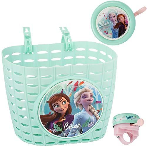alles-meine.de GmbH 2 TLG. Set: Fahrradklingel + Fahrradkorb - Disney die Eiskönigin - Frozen - UNIVERSAL Ding Dong - 2 Klang - Klingel für das Fahrrad / Jungen Mädchen - kleine ..