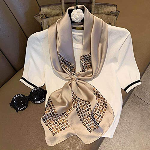 ZAMi Bufanda de Seda de Moda para Mujer Gran Tejido Cuadrado decoración Salvaje Bufanda pequeña Primavera Verano Protector Solar Fino mantón-tótem de champán