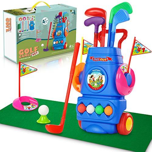 Otes Juego de Golf Niños Juguetes Deportivos Golf Plástico Carrito de Golf con Palos Divertido Mini Club de 16 Piezas para Exteriores y Interiores