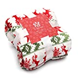 Kingole Flannel Fleece Microfiber Throw Blanket, Luxury Red Reindeer Queen Size Lightweight Cozy Couch Bed Super Soft and Warm Plush Solid Color 350GSM (Red/Green/White 90 x 90 inches)