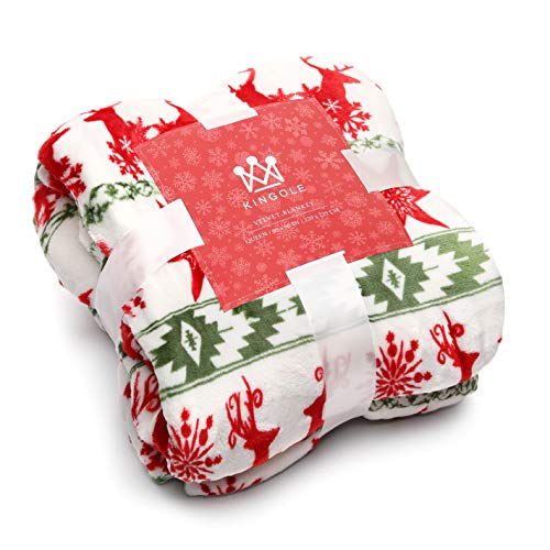 Kingole Flannel Fleece Microfiber Throw Blanket, Luxury Christmas Red Reindeer Queen Size Lightweight Cozy Couch Bed Super Soft and Warm Plush Solid Color 350GSM (Red/Green/White 90 x 90 inches)