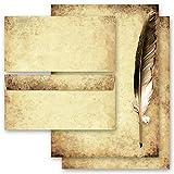 Juego completo de 20 componentes Antiguo & Historia, PLUMA EN PAPEL VIEJO 10 hojas estampadas + 10 sobres estampados DL, sin ventanas | Paper-Media