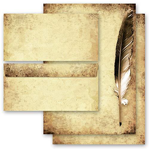 Briefpapier Set, 40 tlg. Antik & History, FEDER AUF ALTEM PAPIER 20 Blatt Briefpapier + 20 passende Briefumschläge DIN LANG ohne Fenster | Paper-Media