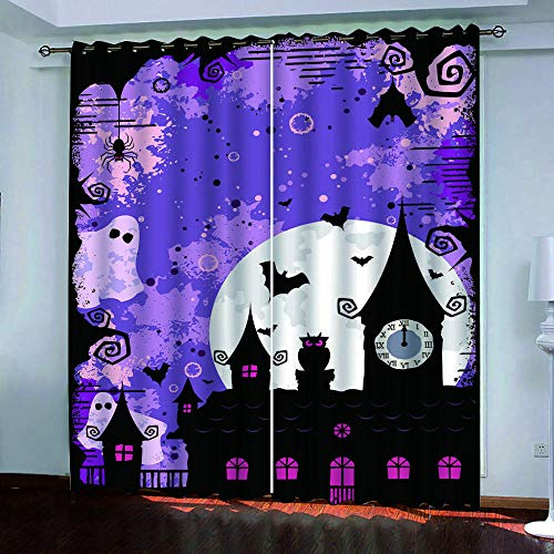 Ayvvaceo 3D Digital Printing Polyester Fiber Curtains, Garden Living Room Kitchen Bedroom Blackout Curtains, Perforated Curtains 2 Piece Set Halloween Creative Hand Drawn Castle 182(W) X214(H) Cm