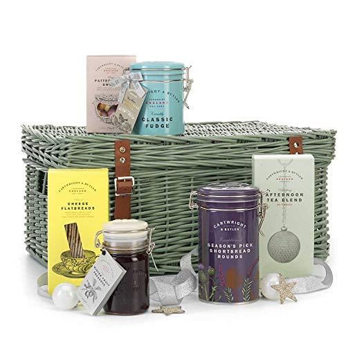 Cartwright & Butler - Cesto per tè pomeridiano natalizio, contiene focacce, tè e altro ancora, presentato in cesto di vimini, perfetto regalo di Natale, 1 pezzo di lusso 1,03 kg
