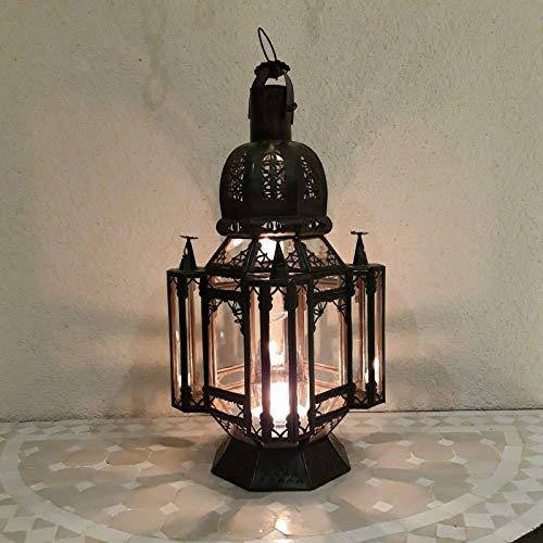lanterne Marocaine électrifiée lampe lustre Marocain luminaire hauteur 50 cm verres transparents applique