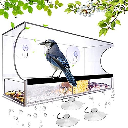 Hängande fyrkantig form fågelmatare, genomskinlig matare montering på ditt fönster, fågelhus med vatten och matfrö, sugkopp typ stabil, fönster visning fågelmatare