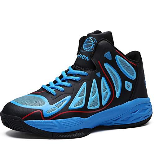 FLOWUNDER Männer Sports rutschfeste Basketballschuhe Leichte Atmungsaktive Sneaker Fashion Trainer Schuhe Hochleistungs-Stoßdämpfung,Blau,43