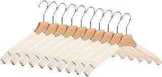 Crystallove 10pcs Multifunctional Non-Slip Solid Wood Sponge Hanger Non-Trace Coat Rack Dress Scarf Pant Holder Tie Belt Oragnizer of Clothing Accessories (Beige)
