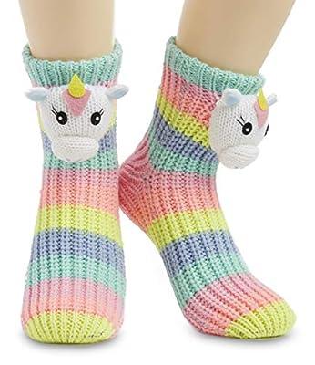 CityComfort Calcetines Antideslizantes Mujer, Zapatillas de Casa Punto Invierno Mullidos de Animales Unicornio Pingüino Gato, Calcetín Gordo Mujer Suave, Regalos Para Mujeres Niñas