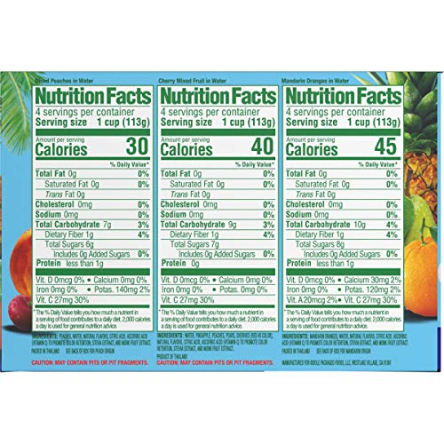 Dole Fruit Bowls, Peaches, Mandarin Oranges and Cherry Mixed Fruit Variety Pack, No Sugar Added, 12 Count, 4 Ounce Cups