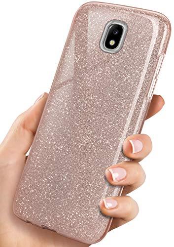 ONEFLOW® Premium Handyhülle kompatibel mit Samsung Galaxy J5 (2017) Hülle Glitzer | Ultra-Slim + Dreilagiges Handy Schutzhülle Dünn Cover - Glitter Case, Rosé-Gold