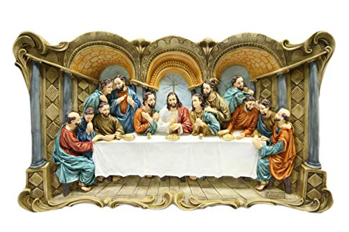 Large Wall Plate Plaque of The Last Supper Jesus Christ Statue 3D by Vittoria Collection Made in Italy