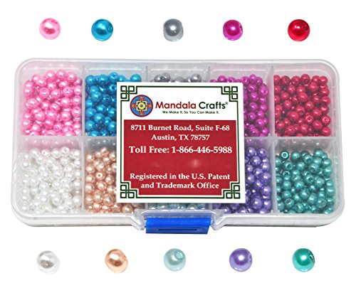 Mandala Crafts 4mm 6mm 8mm Assorted Round Colored Glass Pearl Beads Kit in Bulk for Jewelry Making (4mm, Combo 2)