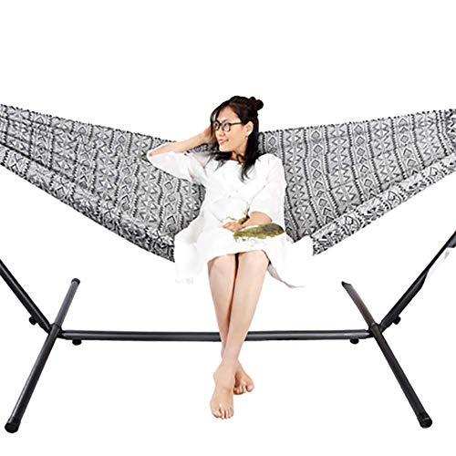 SHARESUN Outdoor camping hangmat, zwart-wit jacquard comfortabele en flexibele beugel hangmat dubbel, schommel, maximale belasting 150kg, voor volwassen kinderen strand tuin binnenplaats, 200 * 150cm
