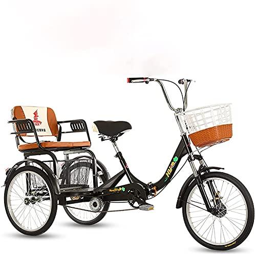 Wxnnx Cruiser Bikes,Erwachsene Liegeräder,Faltbares Dreirad,Trike,Alter Roller,20 Zoll Reifen Doppelkette,Maximale Belastung 441LB,B