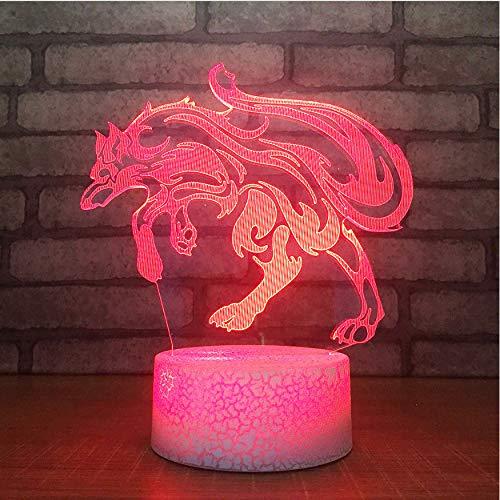 Cadeau Saint Valentin Enfants Touche Bouton Nuit Lumières Usb Animal Table Lampe 3D Led Visual 7 Couleur Changement Loup Modélisation Salon Décoration Lumières