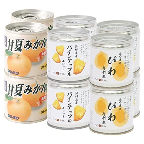 【九州旬食館】 国産 果実の缶詰セット 甘夏身割れ パインアップル びわ身割れ 12個 詰め合わせ