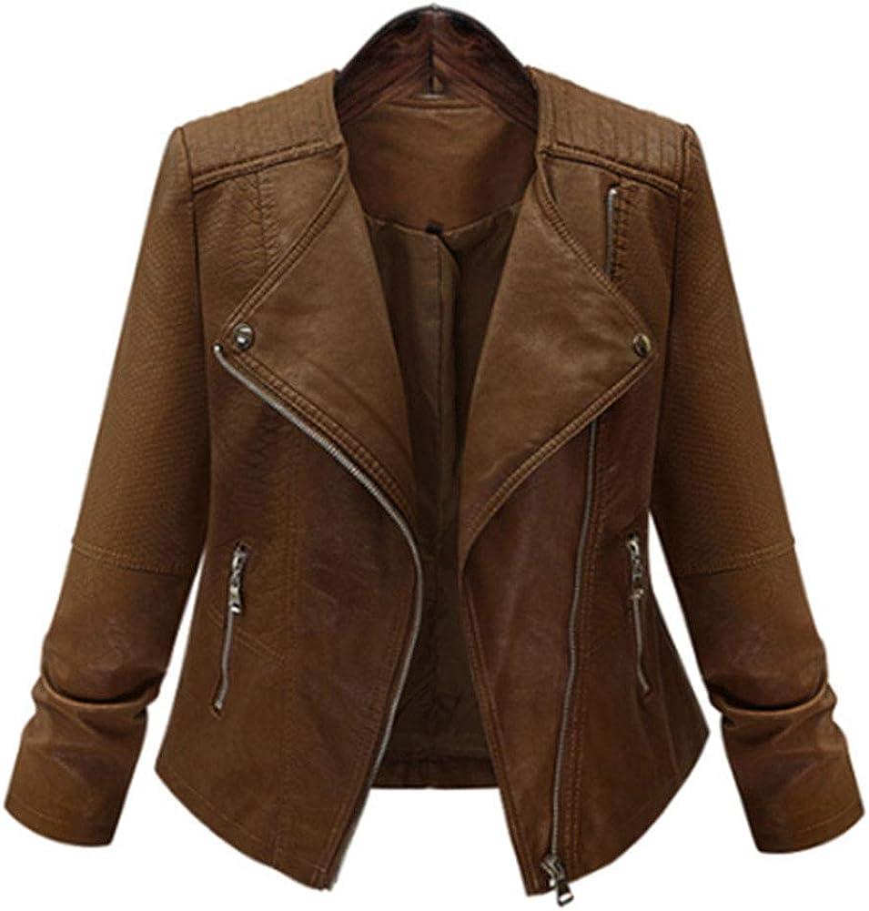 June Women's Long Sleeve Solid Color Zipper Coats PU Leather Oversized Jackets
