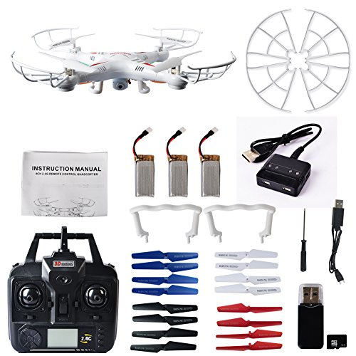 Maxbo X8 2.4G 4CH 6-Axis Gyro RC Quadcopter Drone With 2MP HD Camera 3 pcs Batteries Support Headless Mode, One Key Return.