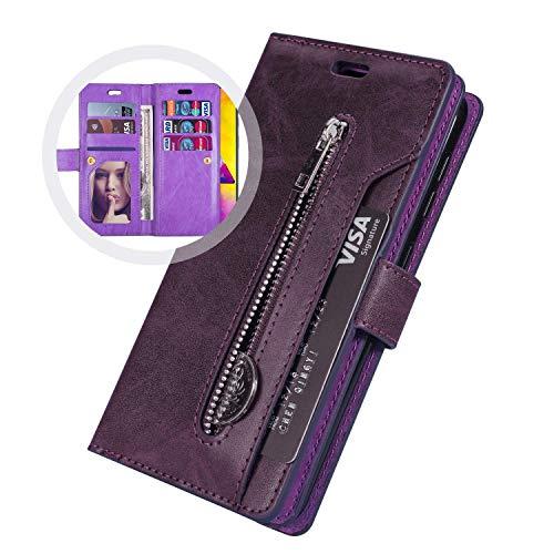 Coque Samsung Galaxy S20 Plus,Housse Protection en Cuir Véritable avec[9 fente pour Cartes],JAWSEU Antichoc TPU Etui à Rabat Portefeuille Flip Case[Stand Fonction]Coque pour Galaxy S20 Plus(Violet)