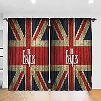 カーテン 52インチx 84インチ 音楽The Beatles 厚手の生地と 絹のような絹のようなポリエステルブレンド、ベッドルーム、リビングルーム、保育園、オフィス、子供部屋に最適な遮光カーテン Rod Pocket One Size