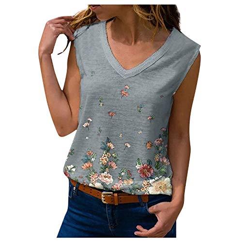Camiseta de tirantes para mujer, camiseta de verano, con estampado floral, elegante, sin mangas, cuello en V, estilo informal., Gris A., XL