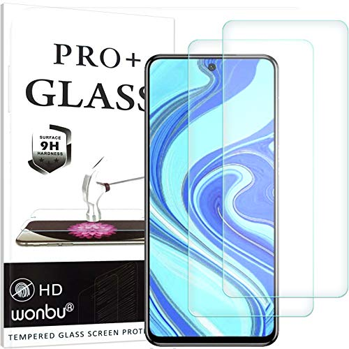 wonbu 2 Unidades, Cristal Templado para XIAOMI REDMI Note 9 Pro, REDMI Note 9S, REDMI Note 9 Pro MAX, Antiarañazos, 9H, 0.33 mm Antihuellas, Protector de Pantalla Ultra Resistente