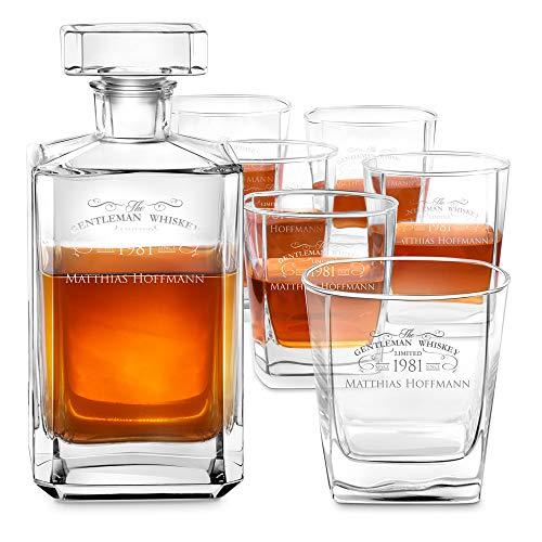 Murrano Whiskey Karaffe + 6er Whiskygläser Set mit Gravur - 700ml Whisky Dekanter - Geschenk zum Geburtstag für Männer - Gentleman Whiskey