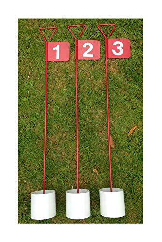 JL Golf 3 x numbered Metal Professional Putting Green Flag and Hole Cup 90cm