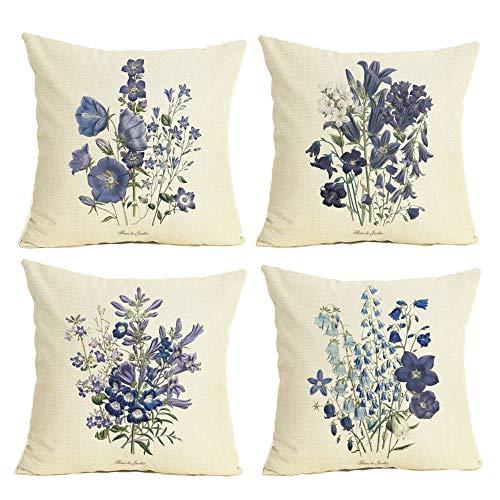 Just Contempo - Set di 4 federe per cuscino in cotone e lino, motivo floreale decorativo, 45,7 x 45,7 cm, ideale per casa, ufficio, divano, letto