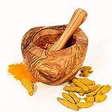 MW Mortaio con pestello in legno d'ulivo, mortaio per erbe aromatiche, fatto a mano con bordo naturale, 12 cm