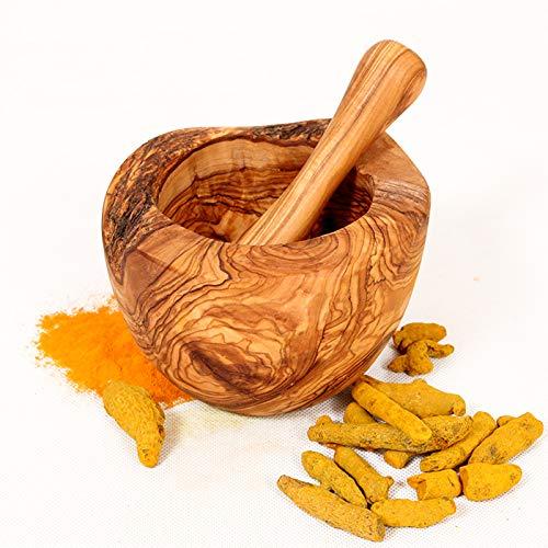 MW Mörser mit Stößel aus Olivenholz, Kräutermörser, handgefertigt mit Naturrand, Küchenmörser 12 cm