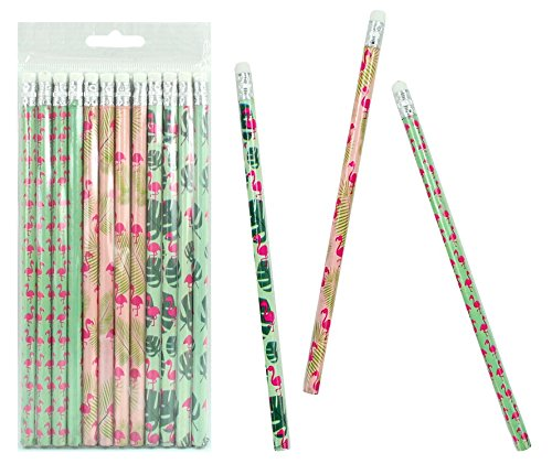 Lot de 12 crayons Au Design Flamingo avec gomme