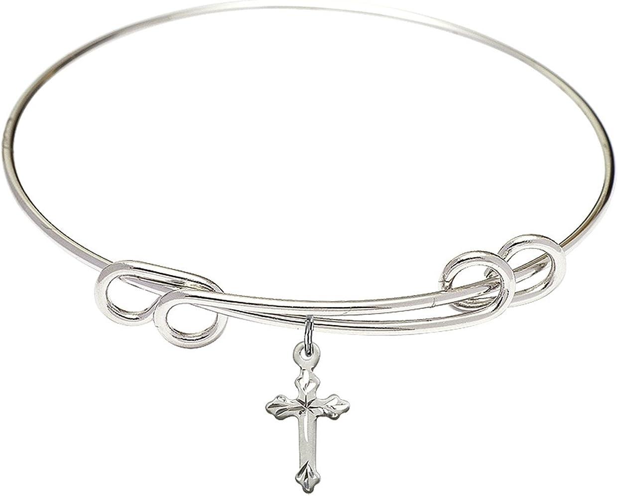 DiamondJewelryNY Double Department store Loop Bangle Topics on TV Bracelet Charm. Cross with a