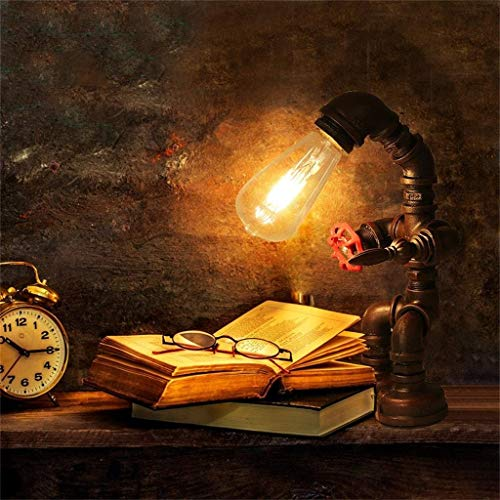 Fashion Individuality Creative Industrial Retro Style Rust Iron Plumbing Pipe Desk Table Lamp Light for Loft Decoration Living Room Bedroom Desk lamp