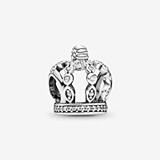 Openwork Crown Silver Charm in 925 Silver Charm in Sterling Silver Bead Charm Fit Pandora Bracelets